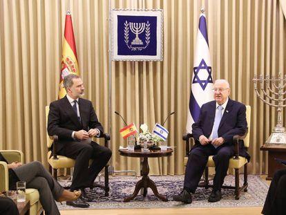 El Rey Felipe VI con el presidente israelí, Reuven Rivlin, en el International Leader's Forum de Jerusalén, hoy.
