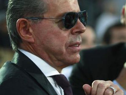 El juez Norberto Oyarbide, en el partido de tenis en Tigre en el que fue abucheado por el público en diciembre de 2012.