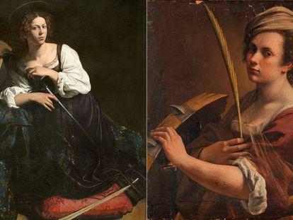 A la izquierda, el retrato de Santa Catalina pintado por Caravaggio. A la derecha, el realizado por Gentileschi.