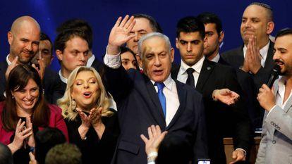 El primer ministro de Israel, Benjamin Netanyahu, celebra el resultado electoral, en Tel Aviv, el pasado 3 de marzo.