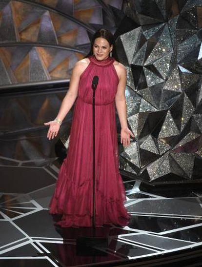 Daniela Vega durante la ceremonia de los Oscar.