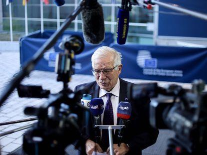 El Alto Representante para Asuntos Exteriores de la Unión Europea, Josep Borrell, en rueda de prensa en Luxemburgo este lunes.