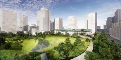 Propuesta presentada por el estudio de arquitectura Diller Scofidio + Renfro junto con los paisajistas británicos Gustafson Porter + Bowman y el socio español b720 Fermín Vázquez Arquitectos.