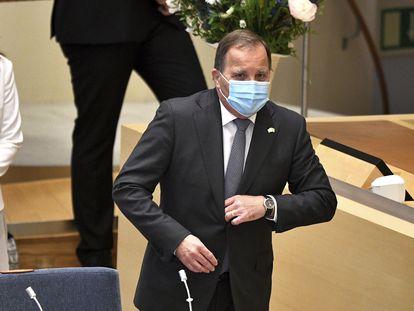 El primer ministro sueco, Stefan Löfven, antes de la votación de la moción de censura en el Parlamento, esta mañana.