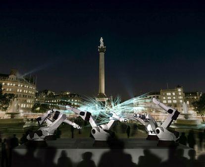 Robots instalados en la plaza londinense de Trafalgar Square.