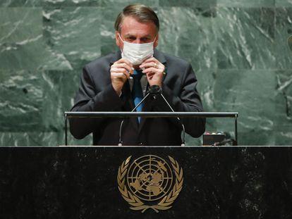 El presidente de Brasil, Jair Bolsonaro, da un discurso en la Asamblea General de la ONU.