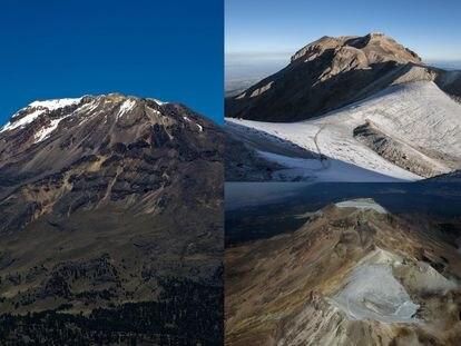 Imágenes del glaciar Ayoloco en la cumbre del Iztaccíhuatl