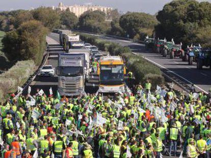 Miles de trabajadores del campo protagonizan cortes en las principales vías de acceso a la provincia