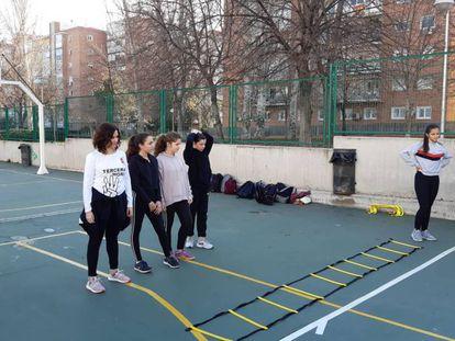 Isabel Díaz Ayuso, en la presentación de la tercera hora de Educación Física en la Comunidad de Madrid.