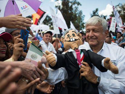 López Obrador en un mitin en Ciudad de México.
