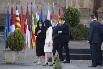 Los presidentes de Madrid, Baleares, Canarias y Comunidad Valenciana, Isabel Díaz Ayuso, Francina Armengol, Ángel Víctor Torres y Ximo Puig,  el 30 de julio de 2020 en el monasterio de San Millán de la Cogolla.