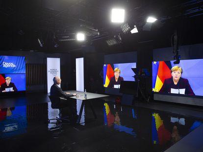 Intervención este martes de Angela Merkel en el Foro Económico Mundial de Davos (Suiza), celebrado por videoconferencia.