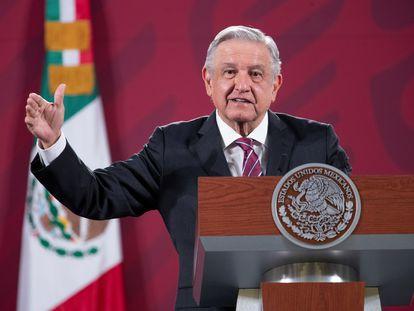 Andrés Manuel López obrador, durante una rueda de prensa en Palacio Nacional de Ciudad de México.