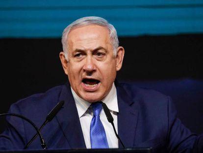 El primer ministro de Israel, Benjamin Netanyahu, tras conocer los resultados de las elecciones legislativas este miércoles en Tel Aviv.