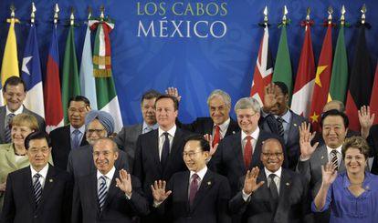 Foto de familia de los líderes reunidos en el G-20.