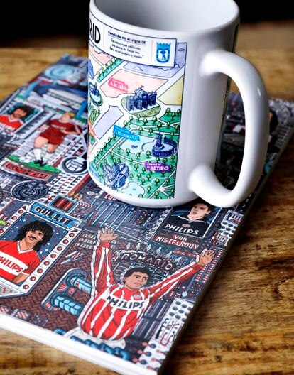 Mug and notebook with drawings by Arrés.