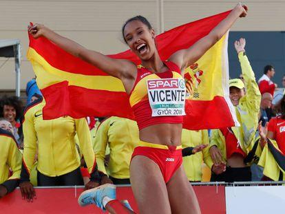 Maria Vicente, tras su victoria en triple salto.