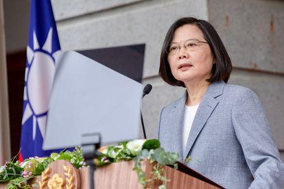 La presidenta taiwanesa, Tsai Ing-wen, pronuncia su discurso de investidura tras jurar el cargo en su segundo mandato
