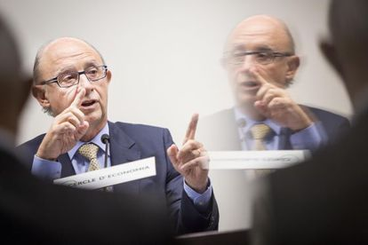 El ministro de Hacienda y Administraciones Públicas, Cristóbal Montoro, en el Círculo de Economía.