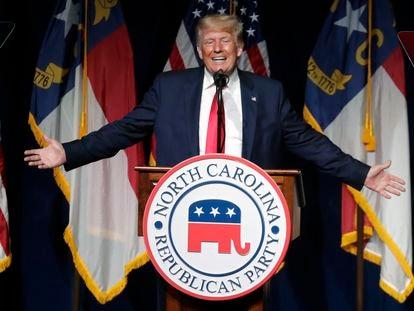 Donald Trump, expresidente de Estados Unidos, durante su discurso este sábado en Carolina del Norte.