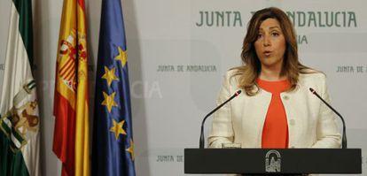 Susana Díaz, durante la declaración institucional de la Junta de Andalucía.