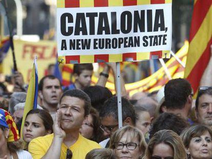 Manifestación nacionalista en Cataluña el 11 de septiembre de 2012.