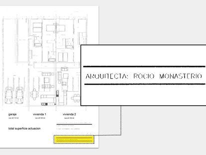 Plano entregado en el Ayuntamiento de Madrid para la construcción de dos 'lofts' en la calle Carolinas, 19, en 2003, en el que aparece como arquitecta Rocío Monasterio.