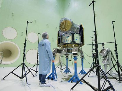 El satélite europeo en el Centro Europeo de Investigación y Tecnología Espacial (ESTEC) de la ESA en Noordwijk (Países Bajos).