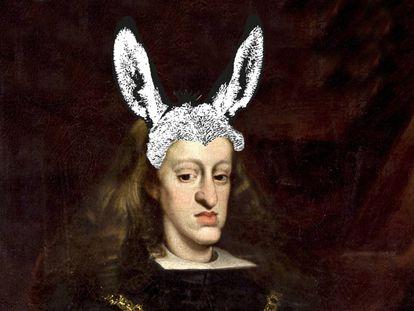 Montaje sobre el retrato de Carlos II que Juan Carreño de Miranda hizo en 1685.