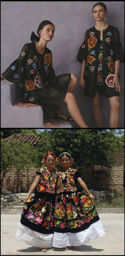 Arriba, diseños de Carolina Herrera. Debajo, vestidos típicos del Istmo de Tehuantepec (México).