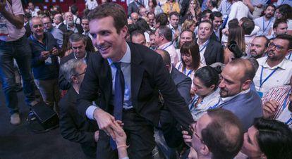 Pablo Casado, tras su victoria ante Sáen de Santamaría. / FOTOGALERÍA: Las imágenes del congreso nacional del PP.