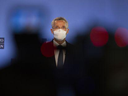 Jens Stoltenberg durante una rueda de prensa el pasado mayo en Bruselas.