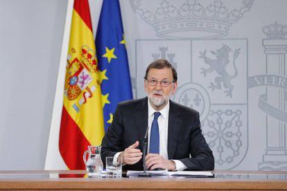 Mariano Rajoy en la comparecencia tras presentar el PSOE la moción de censura.