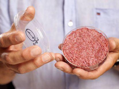 Aspecto de la primera carne cultivada en laboratorio.