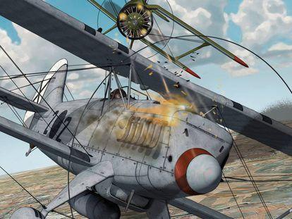 Portada del cómic 'La sombra del Cóndor', de Gerardo Balsa, en la que un caza alemán Heinkel 51 (el 2•2) es atacado por un Polikarpov I-15 (Chato) republicano.