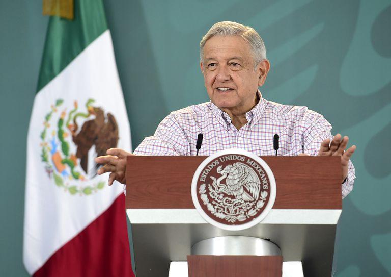 El presidente Andrés Manuel López Obrador este miércoles en una conferencia en Torreón, Coahuila.
