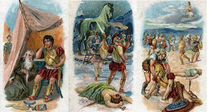 Cromolitografías de 1890 sobre varias escenas de la guerra de Troya, tanto las relatadas por Homero como las basadas en relatos legendarios.