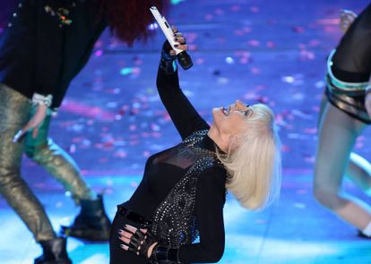 Raffaella Carrà en la 64 edición del Festival de la Canción Italiana en 2014.