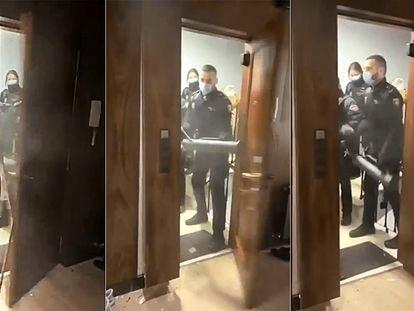 Secuencia del derribo de la puerta por parte de la Policía Nacional por la celebración de una fiesta ilegal en un piso de Madrid el pasado marzo.