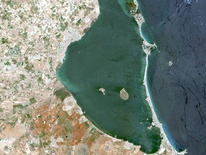 El Mar Menor visto desde el satélite de teledetección SPOT.