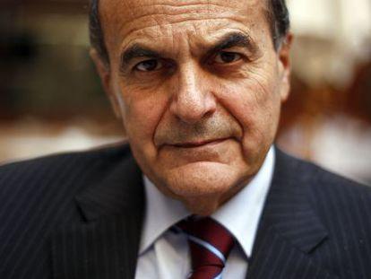 Pier Luigi Bersani, secretario del Partido Democrático italiano, antes de la entrevista en Madrid.