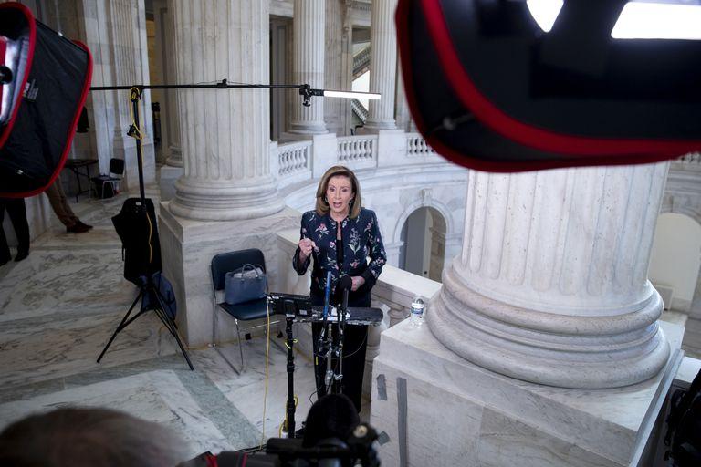 La líder de la mayoría demócrata en la Cámara baja, Nancy Pelosi, este miércoles en el Capitol Hill, en Washington.