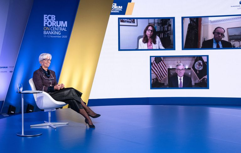 La presidenta del BCE, Christine Lagarde, participa en un foro virtual a principios de noviembre.
