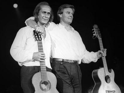 Paco de Lucía y John McLaughlin en el Festival de Jazz de San Sebastián, en 1987.