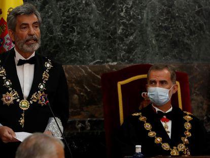 Carlos Lesmes y Felipe VI durante la apertura del año judicial en el Tribunal Supremo.