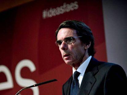 El expresidente José María Aznar, en un acto de la fundación FAES.