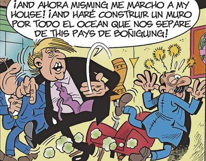 Viñeta de la nueva aventura de Mortadelo y Filemón, los personajes de Francisco Ibáñez, en la que aparece Donald Trump.