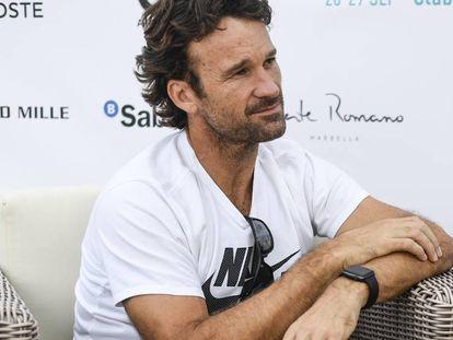 Carlos Moyà, este viernes durante la entrevista en el Club Puente Romano de Marbella.