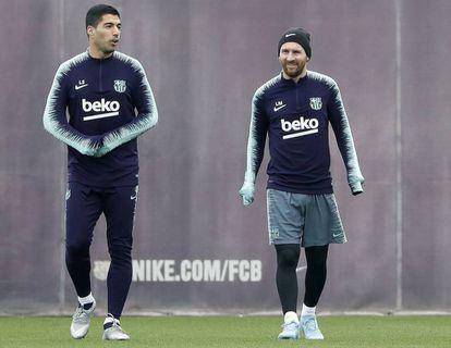 Messi y Suárez, en el entrenamiento del Barcelona del pasado viernes.