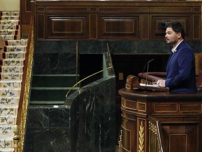 El portavoz parlamentario de ERC, Gabriel Rufián, en el pleno del Congreso hace 15 días